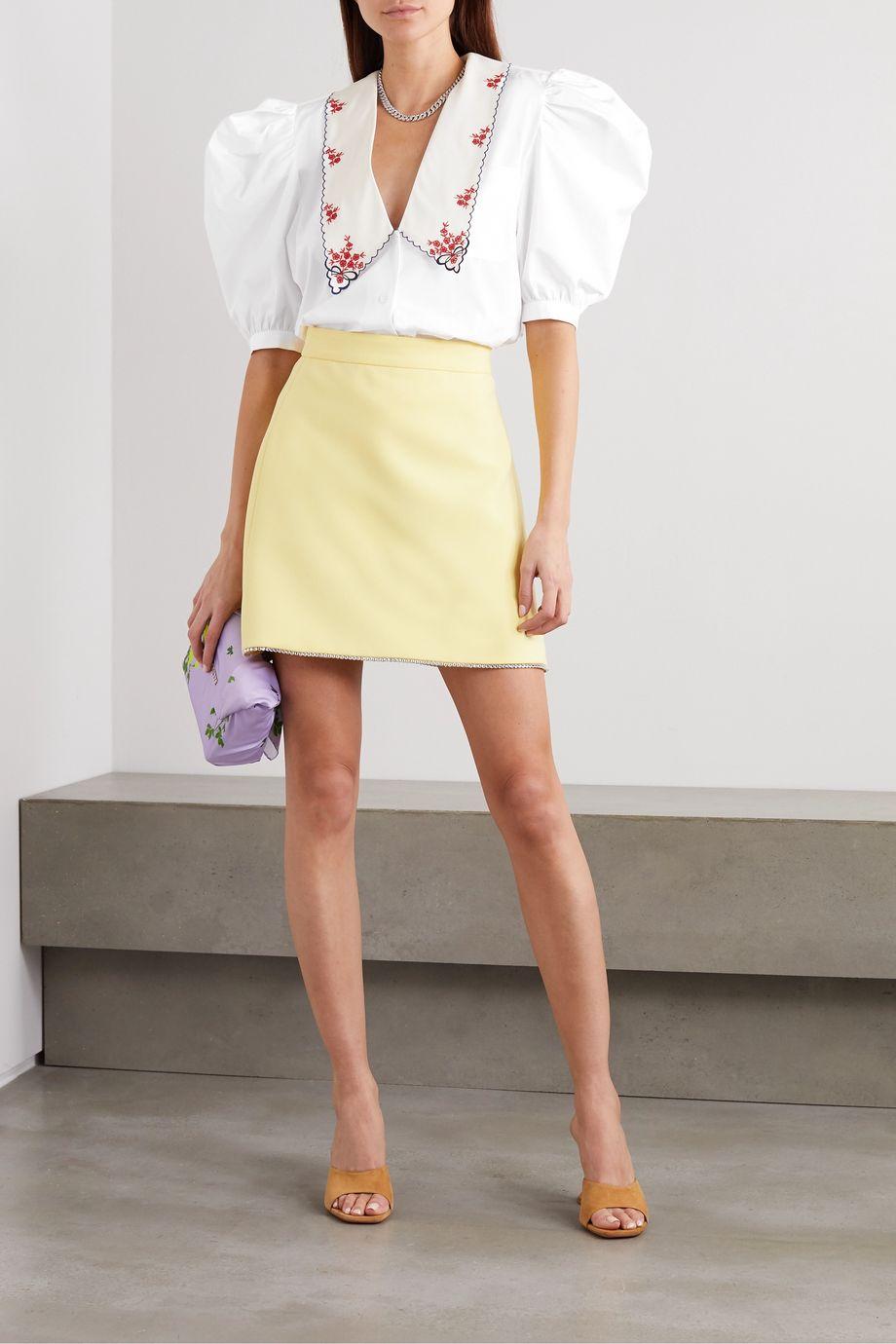 Miu Miu Bestickte Bluse aus Baumwollpopeline