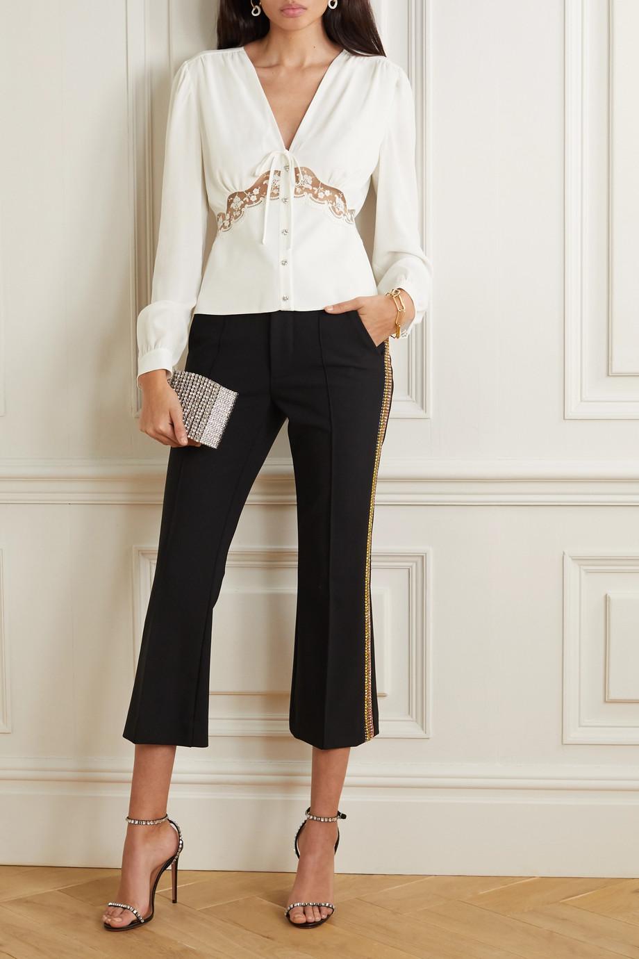 Miu Miu Crystal-embellished lace-trimmed crepe blouse