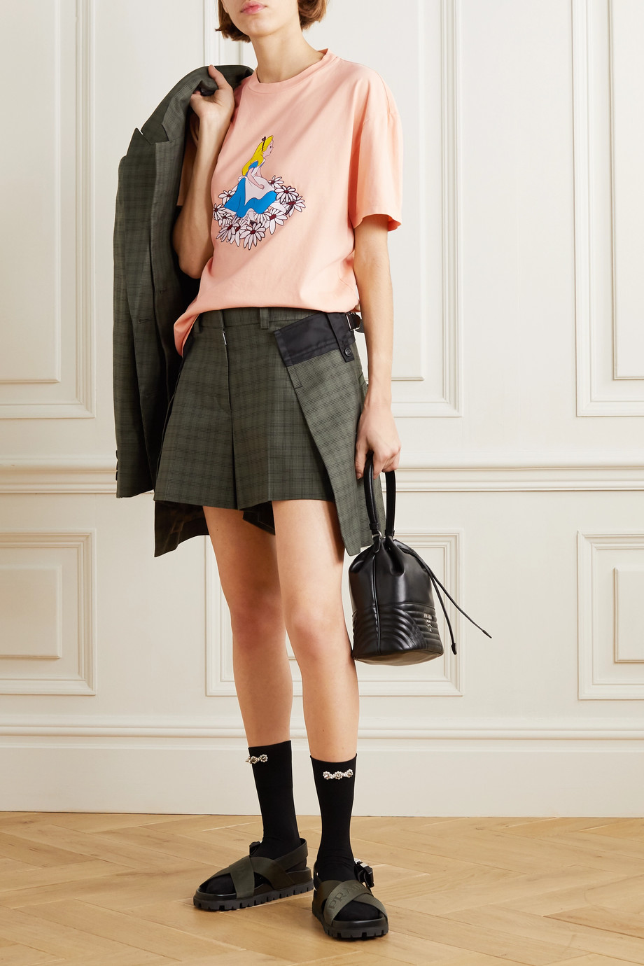 Miu Miu + Disney oversized printed cotton-jersey T-shirt