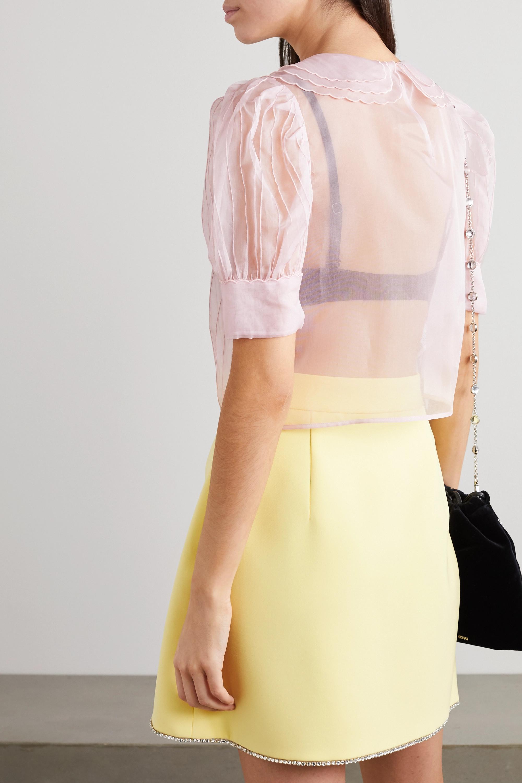 Miu Miu Crystal-embellished pintucked silk-organza blouse