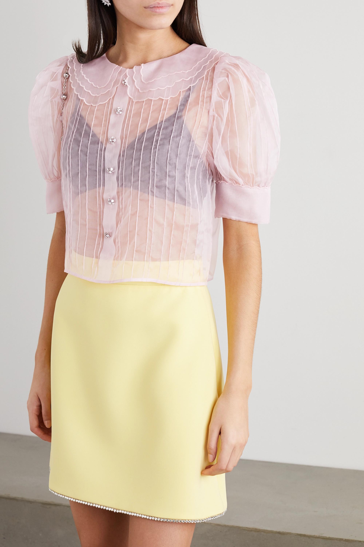 Miu Miu Bluse aus Seidenorganza mit Kristallen und Biesen