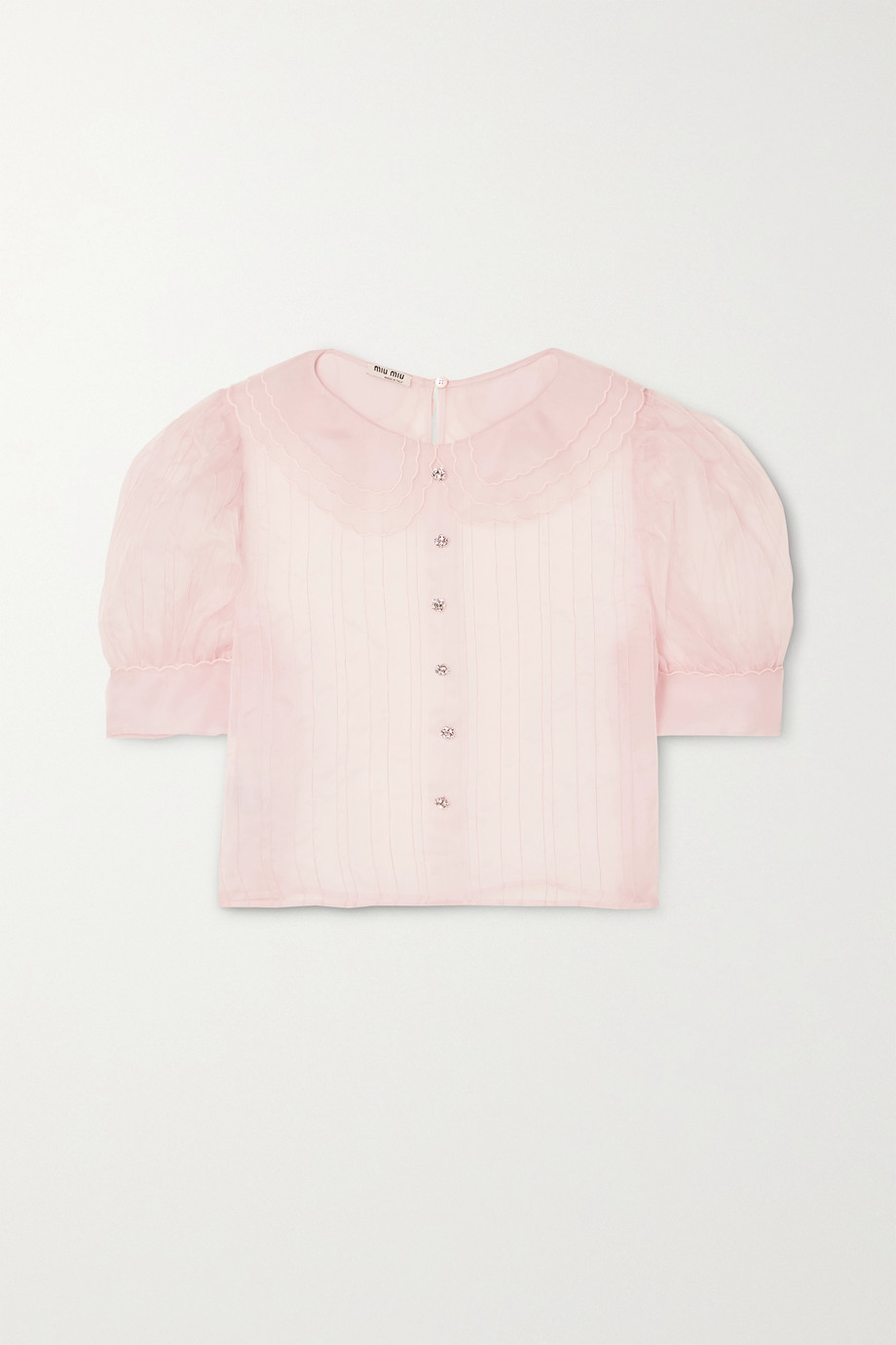 Miu Miu Crystal-embellished pintucked silk-organza blouse