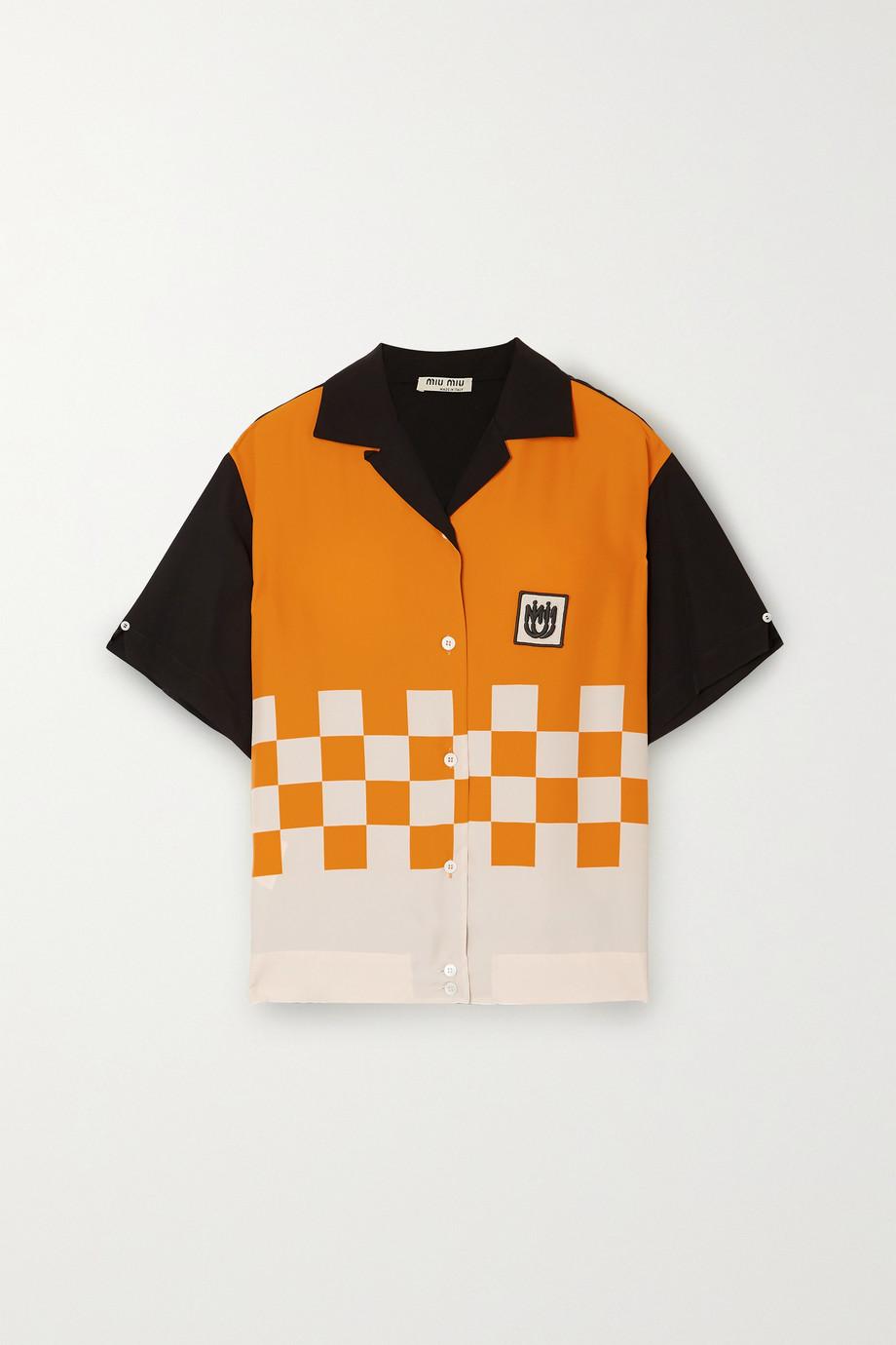Miu Miu Hemd aus bedrucktem Cady mit Applikation