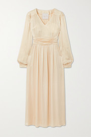 Envelope1976 Sitges ruched charmeuse midi dress