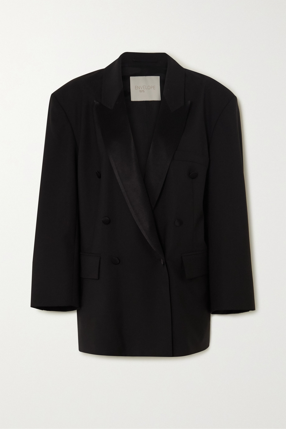 Envelope1976 Lyon oversized double-breasted satin-trimmed wool blazer