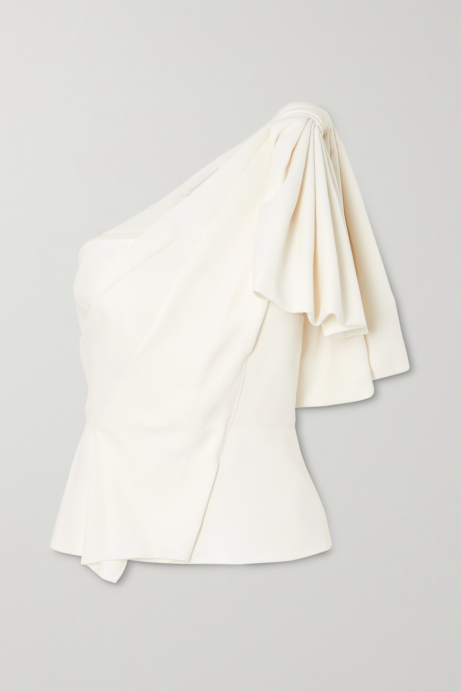 Roland Mouret Toulon one-shoulder bow-detailed gathered crepe top