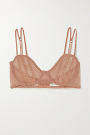Lonely Rumi lace-trimmed embroidered stretch-tulle underwired soft-cup bra