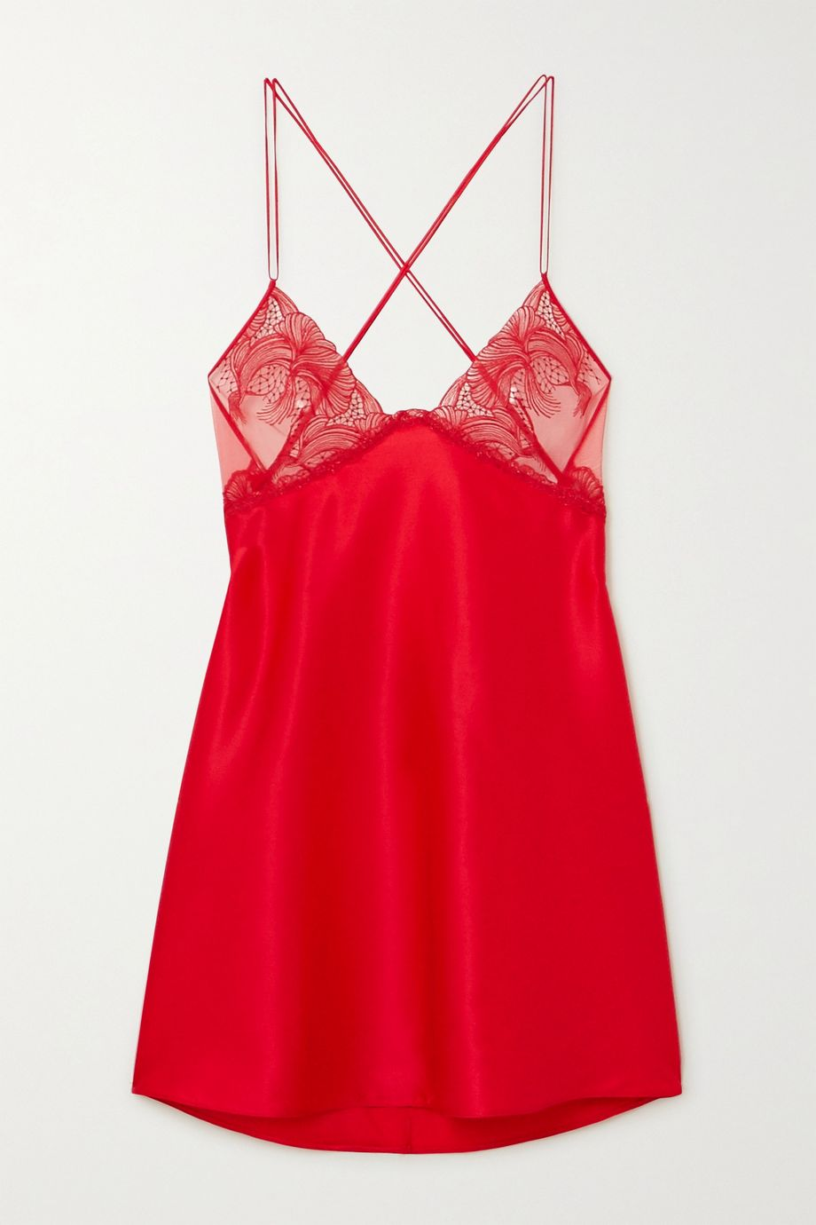La Perla Camelia stretch-silk and embroidered tulle chemise