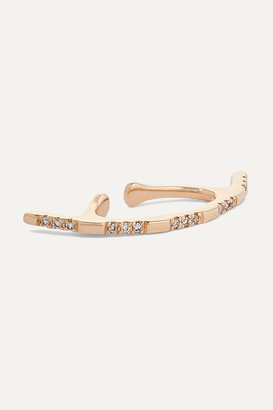 Hirotaka Bow 10-karat gold diamond ear cuff