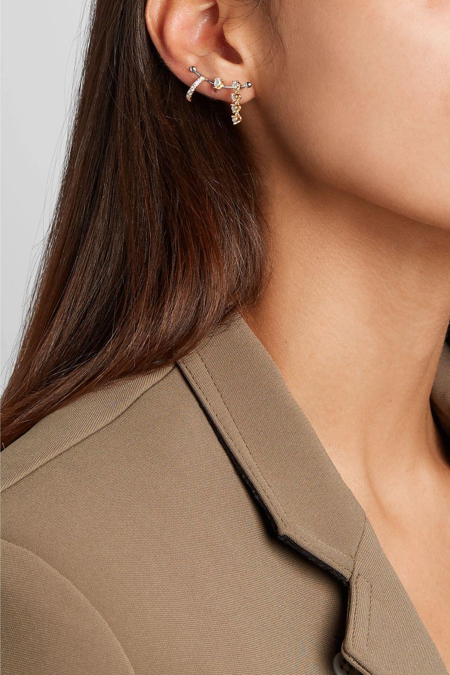 Delfina Delettrez 18-karat white and yellow gold diamond ear cuff