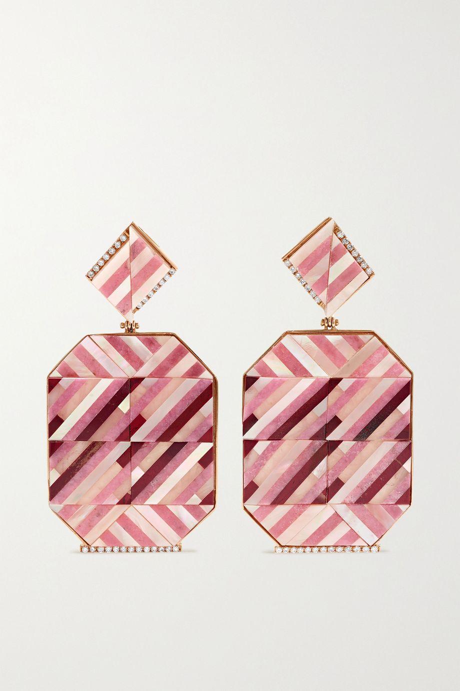 Casa Castro Rose Mosaic 18-karat gold multi-stone earrings
