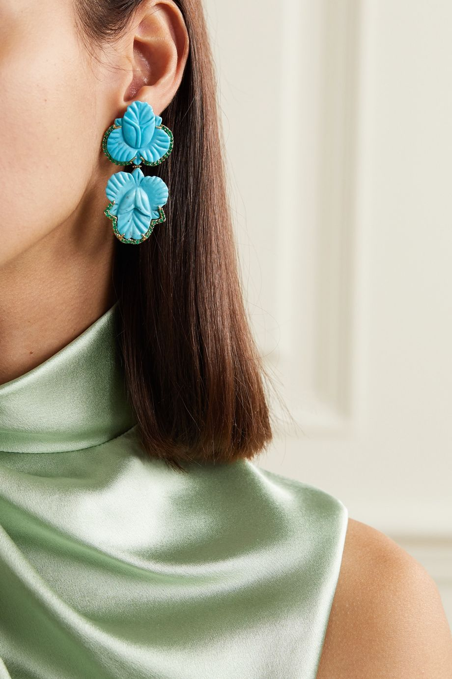 Casa Castro 18-karat gold, turquoise and emerald earrings