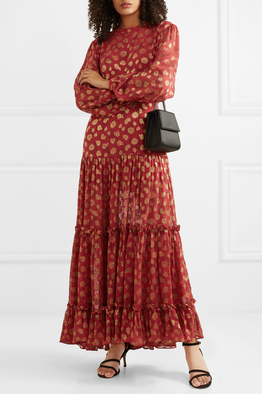 RIXO Tiered paisley-print metallic fil-coupé chiffon maxi dress