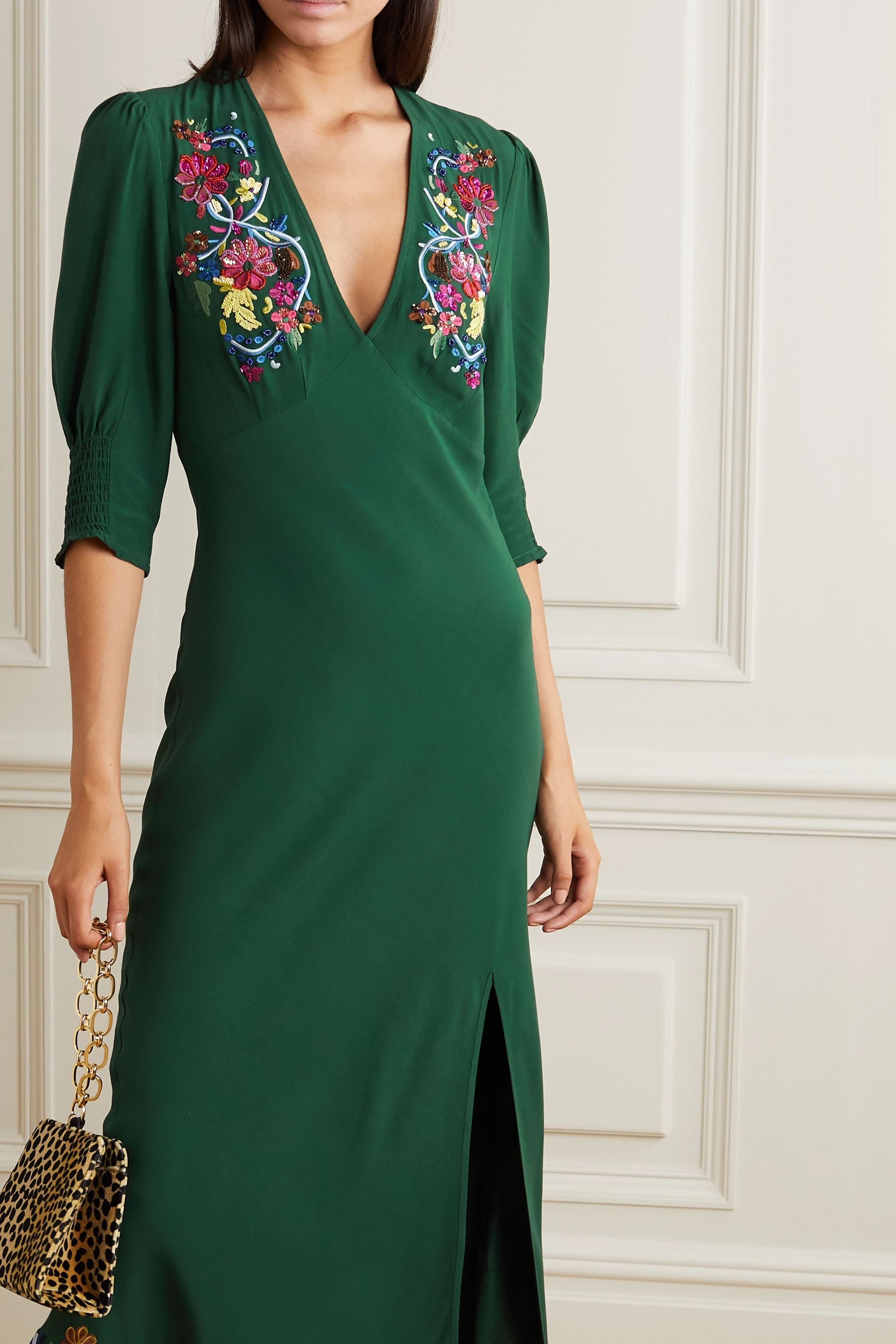 RIXO Carmen embellished embroidered crepe midi dress