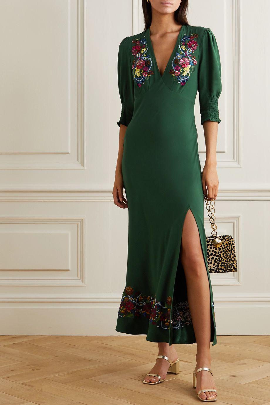 RIXO Carmen embellished embroidered crepe midi dress