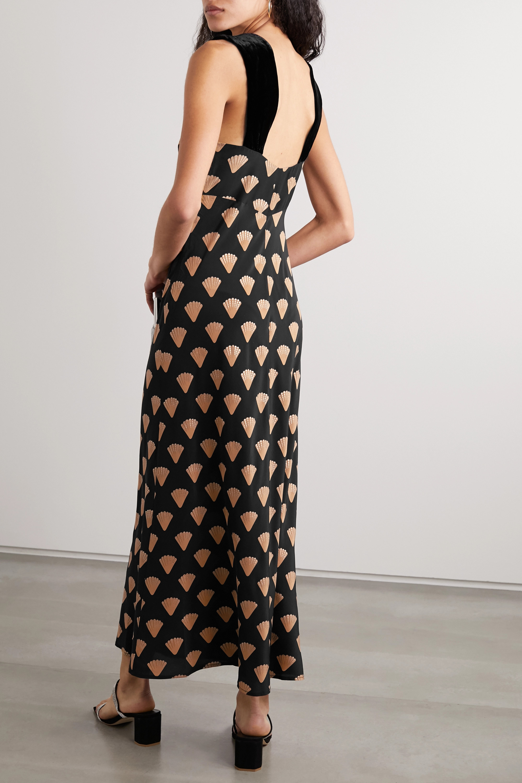 RIXO Astrid velvet-trimmed printed silk crepe de chine midi dress