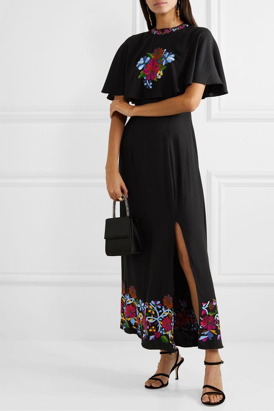 RIXO Iona cape-effect embroidered crepe midi dress