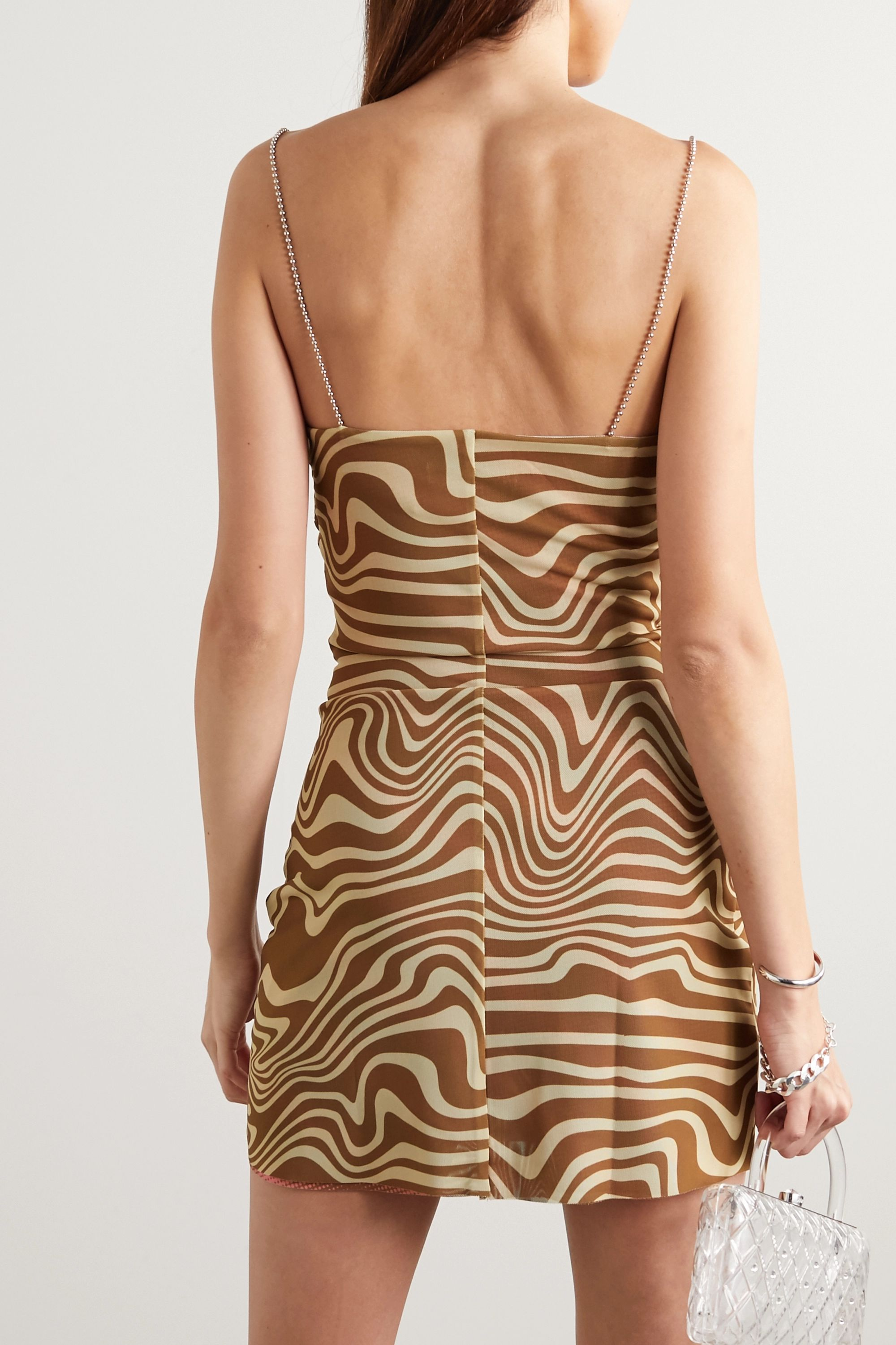 Maisie Wilen Bead-embellished ruched printed stretch-jersey mini dress