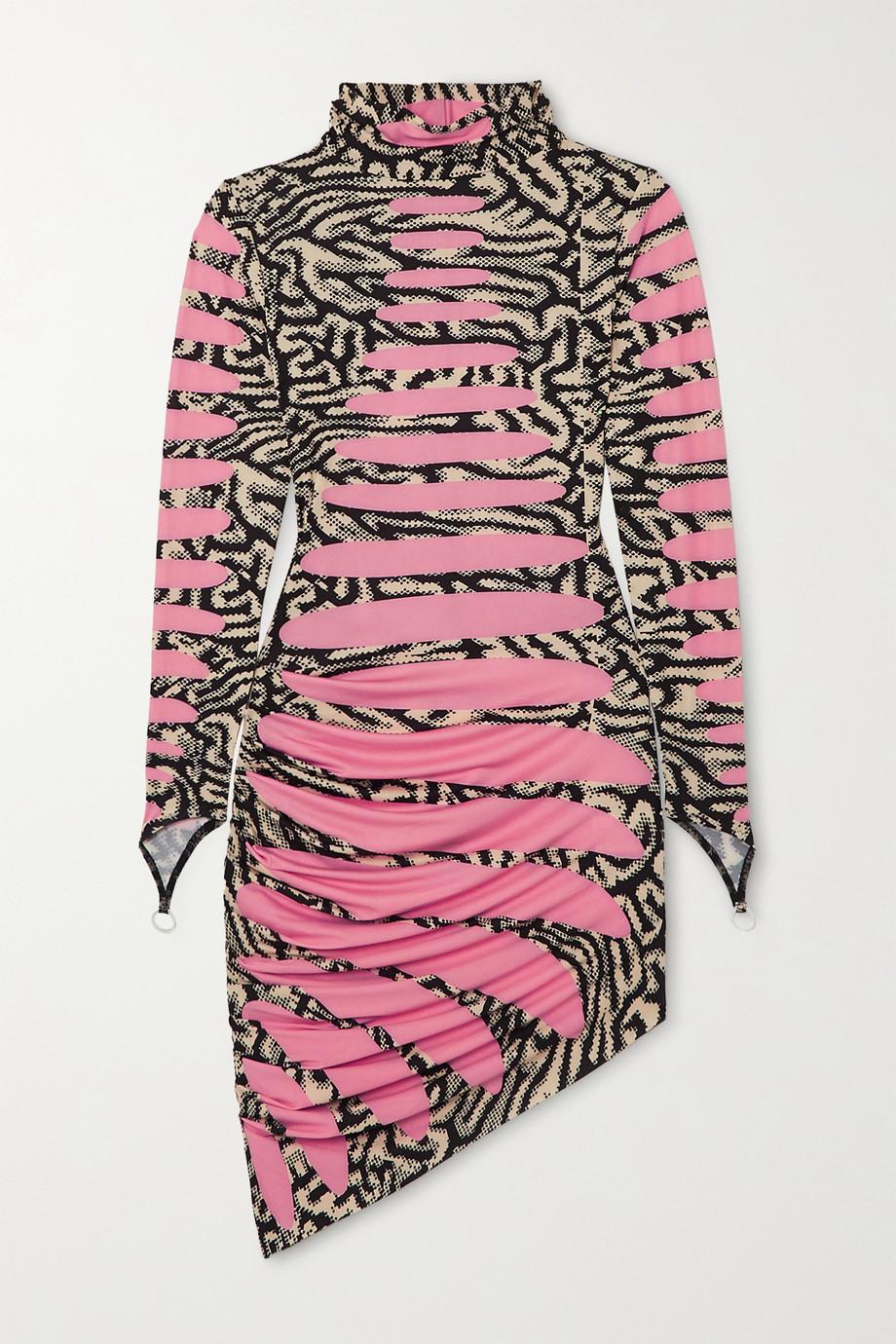 Maisie Wilen Ruched printed stretch-jersey turtleneck mini dress