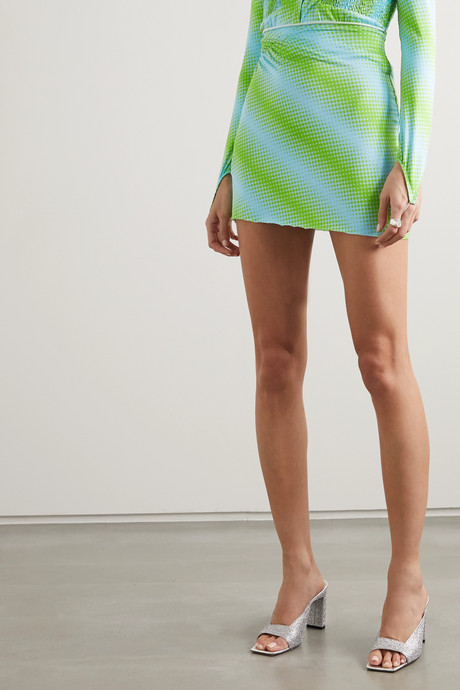 Ruched printed stretch-jersey mini skirt