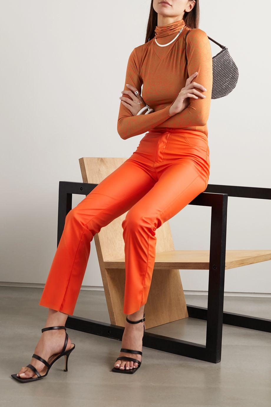 Maisie Wilen Printed stretch-jersey turtleneck top