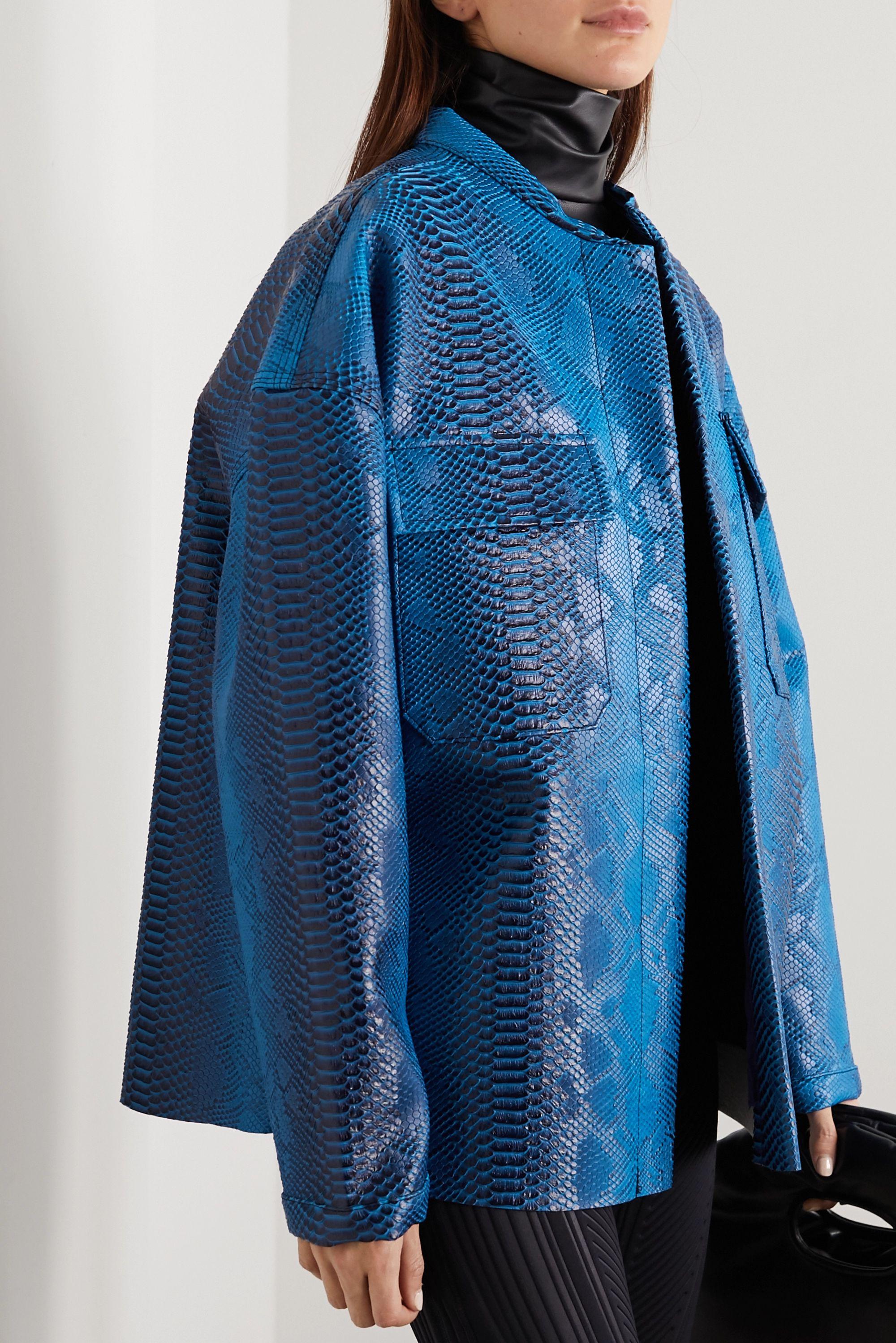 Maisie Wilen Oversized snake-effect vinyl jacket