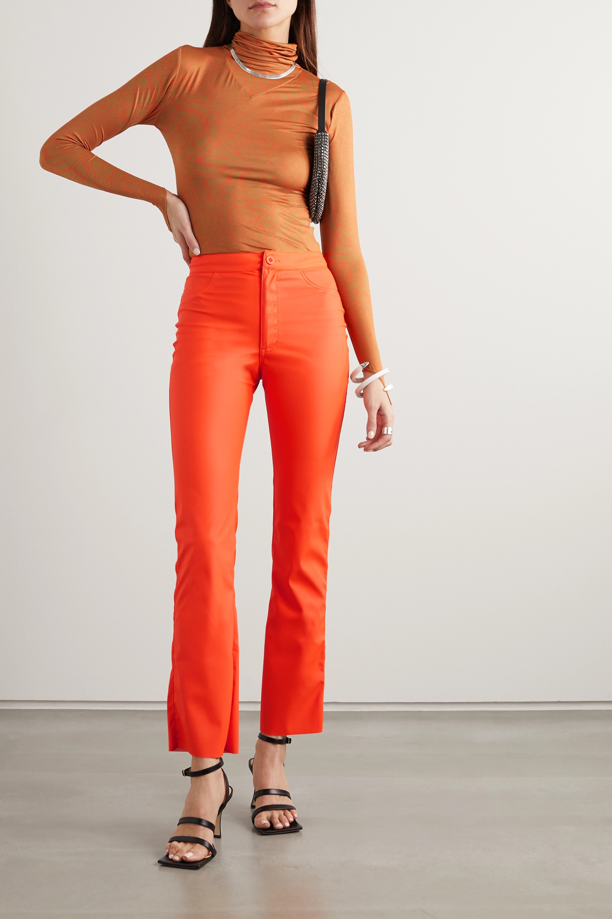 Maisie Wilen Cropped coated-jersey flared pants