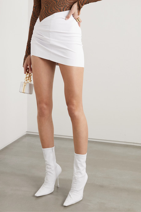 Ruched coated-jersey mini skirt