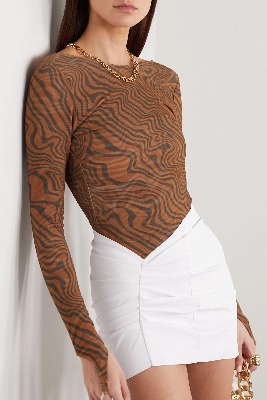 Maisie Wilen Open-back printed stretch-jersey bodysuit