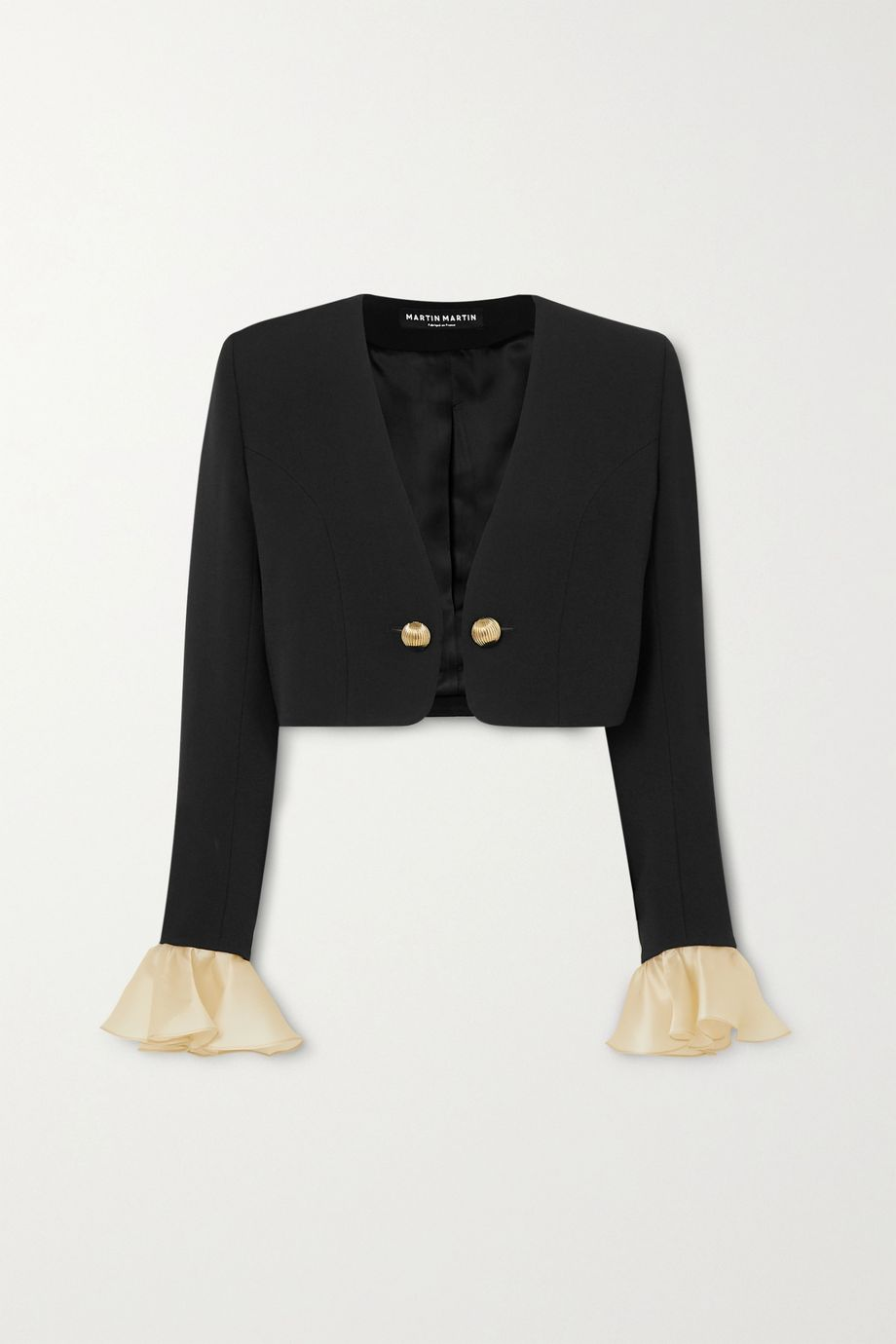 MARTIN MARTIN Joy cropped ruffled organza-trimmed crepe jacket