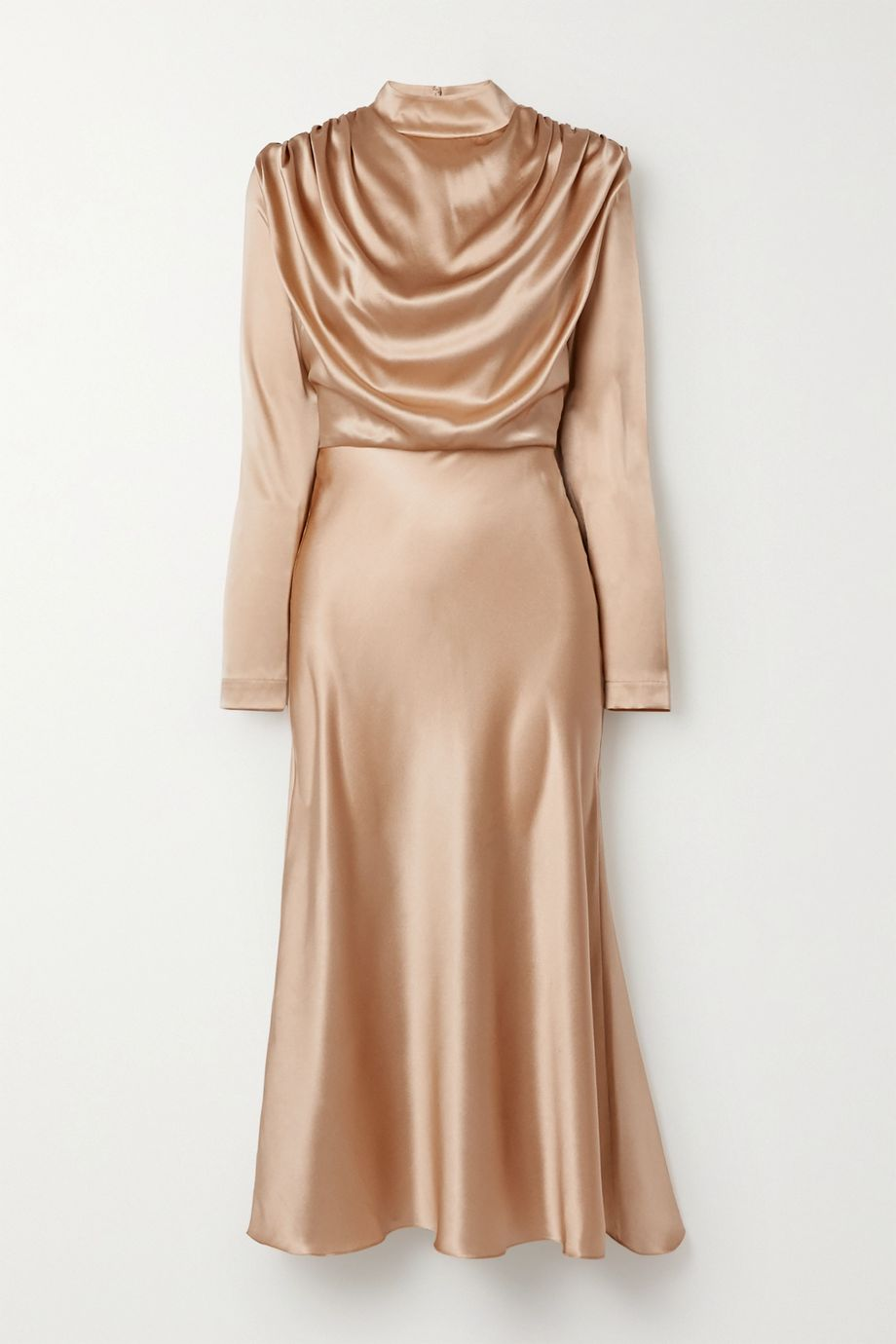 MATERIEL Draped silk-satin midi dress