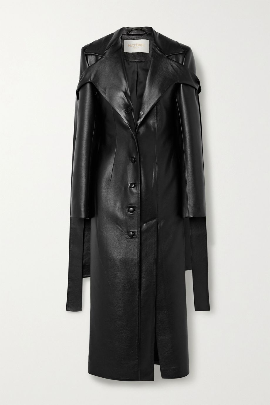 MATERIEL Tie-detailed faux leather coat