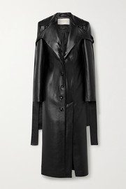 Tie-detailed faux leather coat