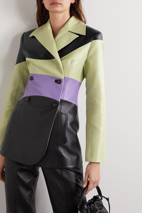 Color-block double-breasted faux leather blazer