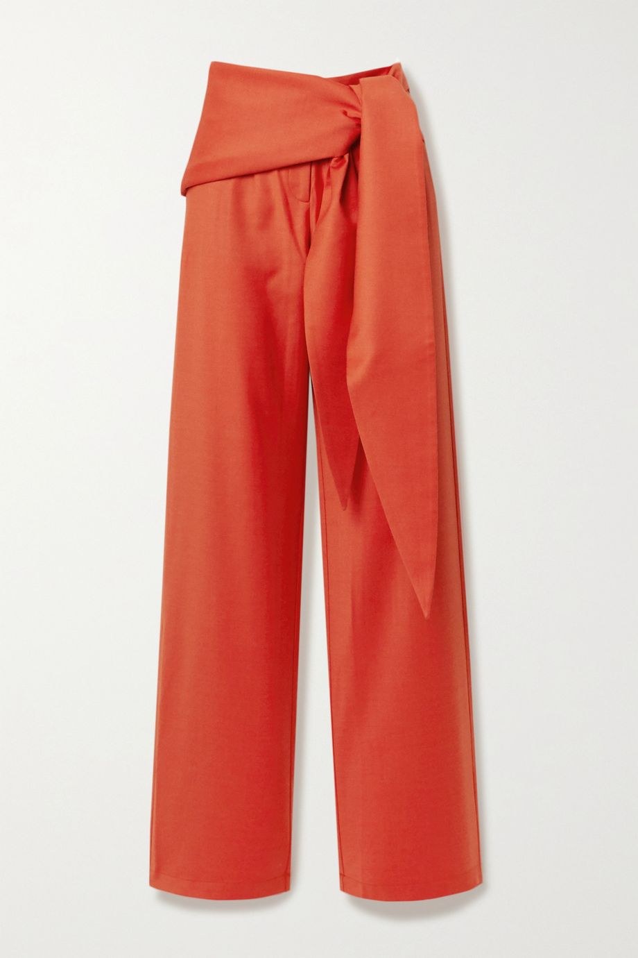 MATERIEL Tie-front wool-blend straight-leg pants