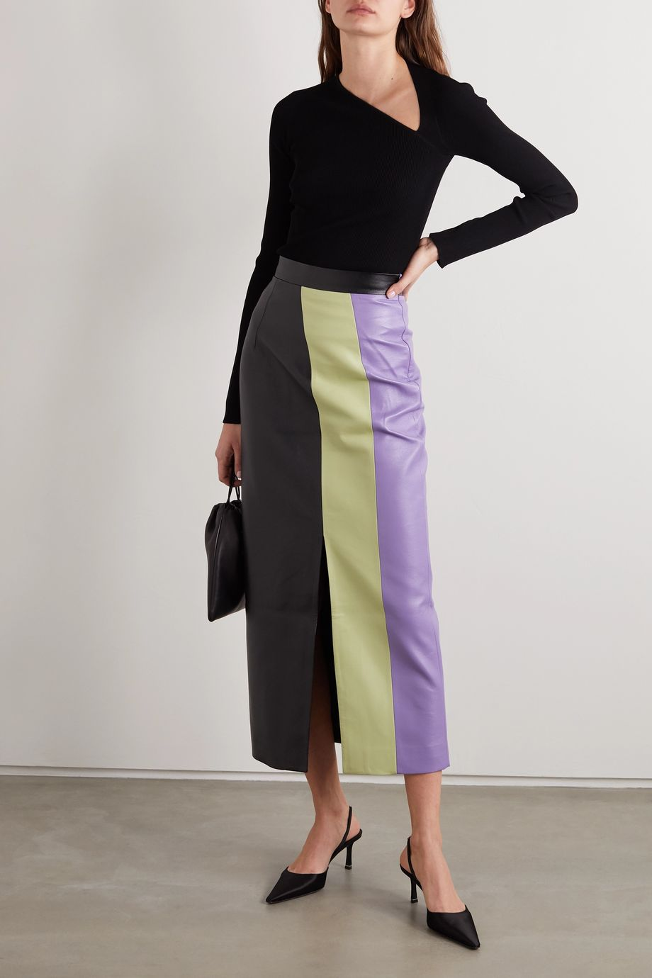 MATERIEL Color-block faux leather midi skirt