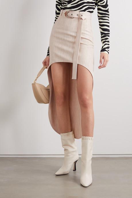Asymmetric belted woven mini skirt