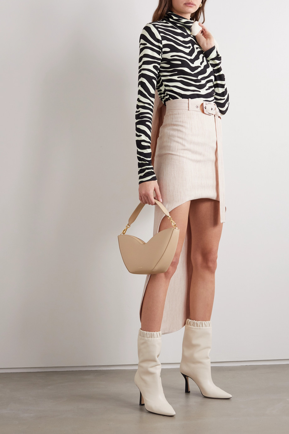 MATERIEL Asymmetric belted woven mini skirt