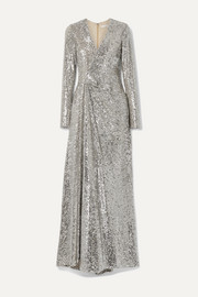 Reem Acra Wrap-effect sequined tulle gown