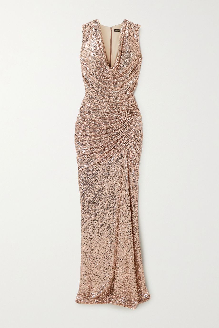 Reem Acra Draped sequined tulle gown