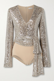 Reem Acra Tie-front sequin-embellished tulle and stretch-jersey bodysuit
