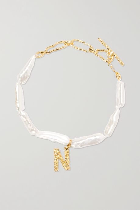 Gold Alphabet gold-plated pearl bracelet   Pacharee R0MUZj