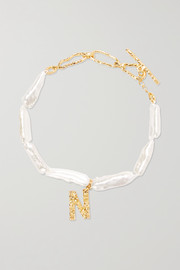 Pacharee Alphabet gold-plated pearl bracelet