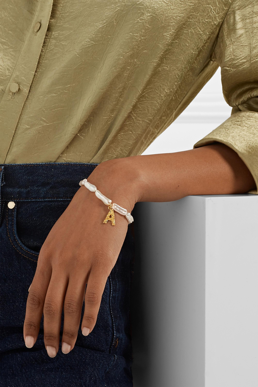 Pacharee Bracelet en perles et plaqué or Alphabet