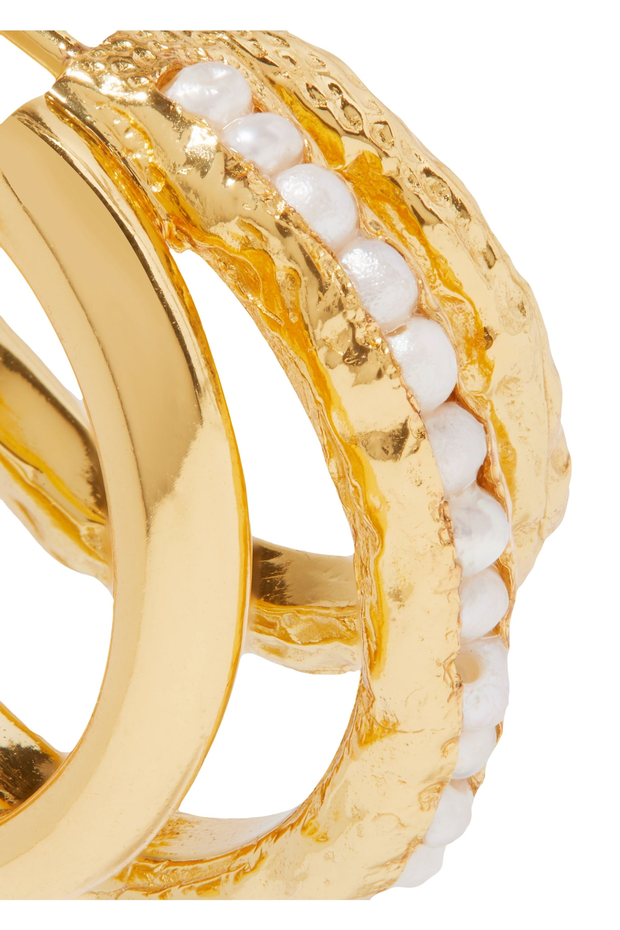 Pacharee Gold-plated pearl hoop earrings