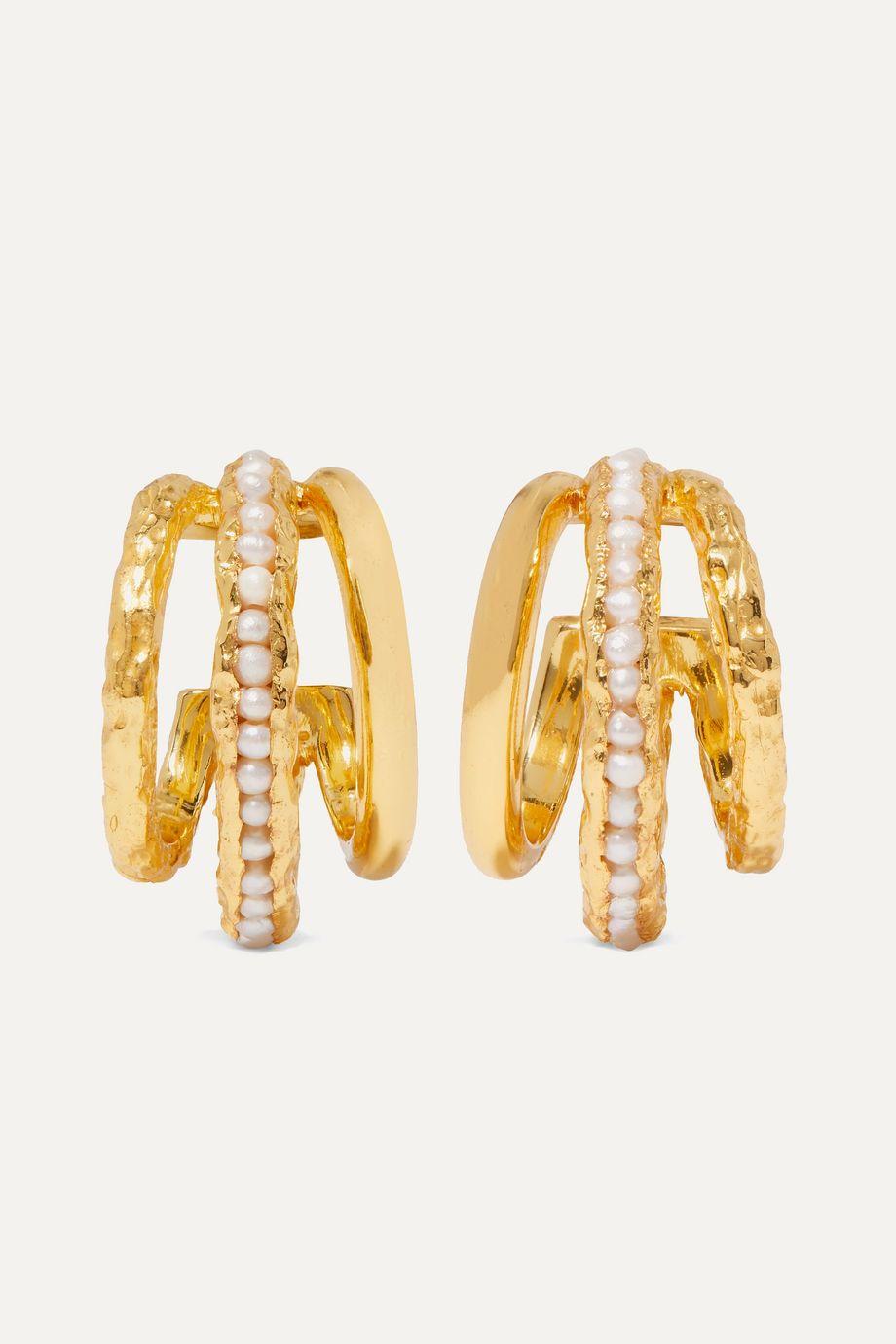 Pacharee Gold-plated pearl hoop earrings