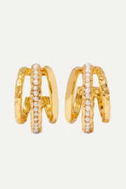 Gold-plated pearl hoop earrings
