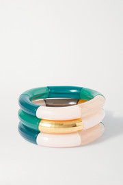 Breakaway and Luxemburg set of three resin and gold-plated bangles