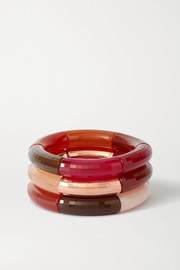 Surplus, It's Future and Bloody Rosa set of three resin, copper and gold-plated bangles