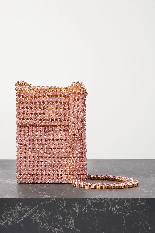 AREA Crystal Flapper embellished gold-tone shoulder bag